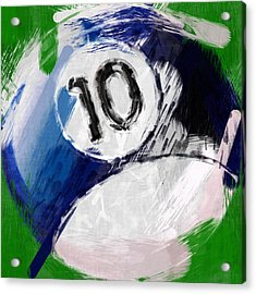 Number Ten Billiards Ball Abstract Acrylic Print by David G Paul