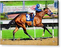 Number Three Horse Acrylic Print by Clarence Alford