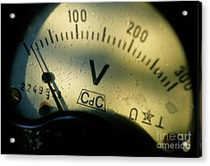 Numbers On The Dial Of A Voltmeter Acrylic Print by Sami Sarkis