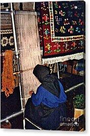 Nun Knotting Carpet Acrylic Print by Sarah Loft