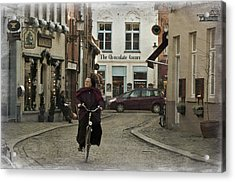 Nun On A Bicycle In Bruges Acrylic Print by Joan Carroll