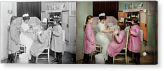 Acrylic Print featuring the photograph Nurse - Playing Nurse 1918 - Side By Side by Mike Savad