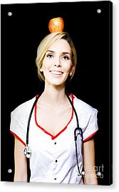 Nurse With The Concept Of A Healthy Balanced Diet Acrylic Print by Jorgo Photography - Wall Art Gallery