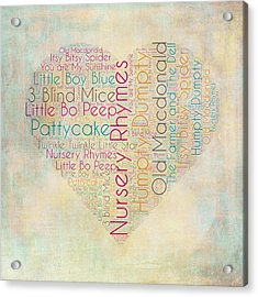 Nursery Rhymes Heart Acrylic Print