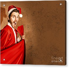 Nutty Santa In A Mad Rush Shopping Spree Acrylic Print by Jorgo Photography - Wall Art Gallery