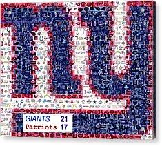 Ny Giants Super Bowl Mosaic Acrylic Print by Paul Van Scott