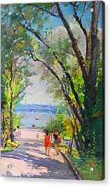 Nyack Park A Beautiful Day For A Walk Acrylic Print by Ylli Haruni