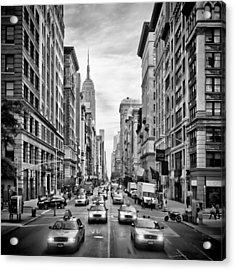 Nyc 5th Avenue Monochrome Acrylic Print