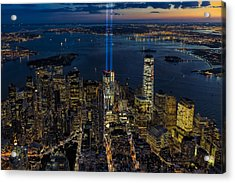 Nyc 911 Tribute In Lights Acrylic Print by Susan Candelario