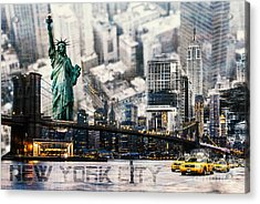 Acrylic Print featuring the photograph Nyc - Collage by Hannes Cmarits