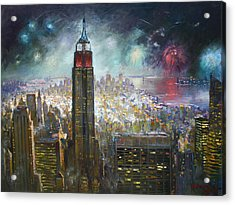 Nyc. Empire State Building Acrylic Print by Ylli Haruni