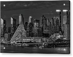 Acrylic Print featuring the photograph Nyc Golden Empire Bw by Susan Candelario