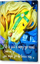 Nyc Golden Steed Quote Acrylic Print by JAMART Photography