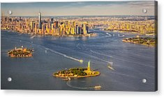Nyc Iconic Landmarks Aerial View Acrylic Print by Susan Candelario