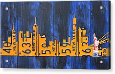 Nyc New York City Skyline With Lady Liberty And Freedom Tower Recycled License Plate Art Acrylic Print by Design Turnpike