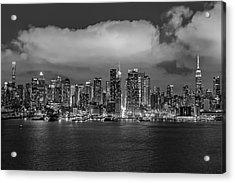 Nyc Skyline At Night Bw Acrylic Print by Susan Candelario