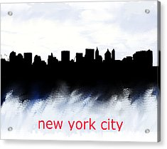 Nyc Skyline Blue And Red  Acrylic Print by Enki Art