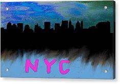 Nyc Skyline Blue  Acrylic Print by Enki Art