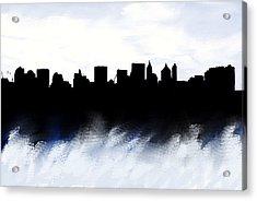 Nyc Skyline Monochrome 1 Acrylic Print by Enki Art