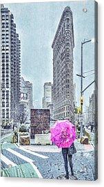 Nyc Snowy Scene Acrylic Print