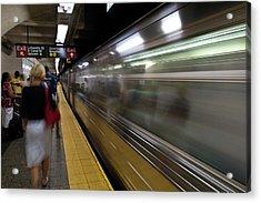 Nyc Subway Acrylic Print by Sebastian Musial