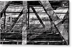 Acrylic Print featuring the photograph Nyc Train Bridge Tracts by Joan Reese
