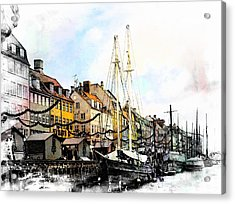 Nyhavn Harbour Impressions Acrylic Print by Dorothy Berry-Lound