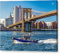 Nypd On East River Acrylic Print