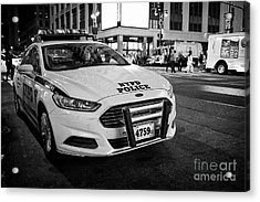 nypd police patrol car at night New York City USA Acrylic Print