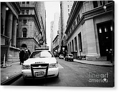 Nypd Police Patrol Car Parked In Wall Street Downtown New York City Acrylic Print by Joe Fox