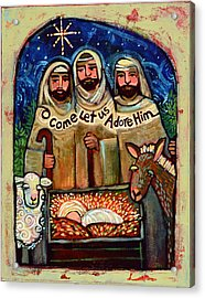 O Come Let Us Adore Him Shepherds Acrylic Print by Jen Norton