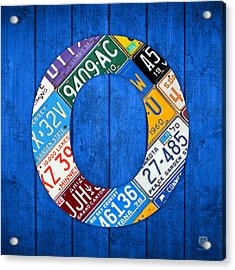 O License Plate Letter Art Blue Background Acrylic Print by Design Turnpike
