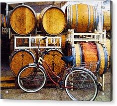 Oak Barrels And Bicycle Acrylic Print