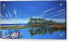 Oak Bluffs With Grady White Acrylic Print
