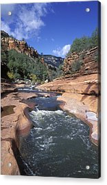 Oak Creek Flowing Through The Red Rocks Acrylic Print by Rich Reid