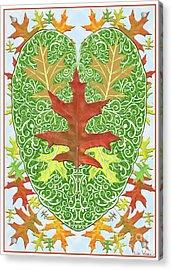 Oak Leaf In A Heart Acrylic Print by Lise Winne