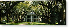 Oak Trees In Front Of A Mansion, Oak Acrylic Print by Panoramic Images