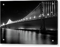 Acrylic Print featuring the photograph Oakland Bay Bridge At Night by Darcy Michaelchuk