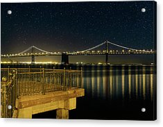 Oakland Bay Bridge By The Pier In San Francisco At Night Acrylic Print