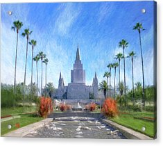 Acrylic Print featuring the painting Oakland Temple No. 1 by Geoffrey Lewis