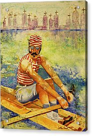 Acrylic Print featuring the painting Oarsman by Cynthia Powell