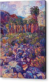 Acrylic Print featuring the painting Oasis Boulders by Erin Hanson
