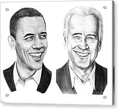 Obama Biden Acrylic Print by Murphy Elliott