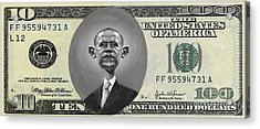 Obama Dollar Acrylic Print by Charles Robinson