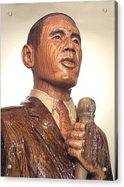 Obama In A Red Oak Log - Up Close Acrylic Print by Robert Crowell