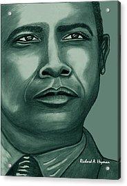 Obama In Bronze Acrylic Print by Richard Heyman