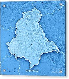 Oberpfalz Regierungsbezirk Bayern 3d Render Topographic Map Blue Acrylic Print
