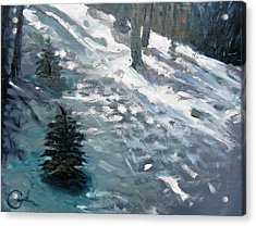 Acrylic Print featuring the painting Observing Snow by Gary Coleman