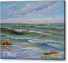Acrylic Print featuring the painting Ocean Breeze by Mary Scott