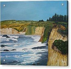Ocean Cliffs Acrylic Print by Joan Taylor-Sullivant